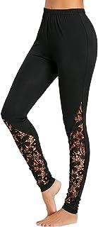 MINXINWY_Leggins de mujer Fitness Cintura Alta, Nuevo Leggings de Mujer Mallas Negras Mujer Pantalones de Verano Running Gym Pantalon Base Encaje Puntada Pantalones de lápiz