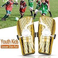 WIKEA Espinilleras de fútbol para niños - Equipo de protección para la Pantorrilla Transpirable para niños de 6 a 12 años, niñas, niños, Adolescentes (Nuevo Oro)