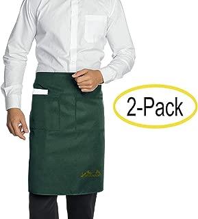 Viedouce 2 Paquetes Delantales,Cintura Corta Delantal Impermeable con 2 Bolsillos para Restaurante Chef Camarero Bartender Mitad,Delantale de Cocina para Hombres Mujeres (Verde)