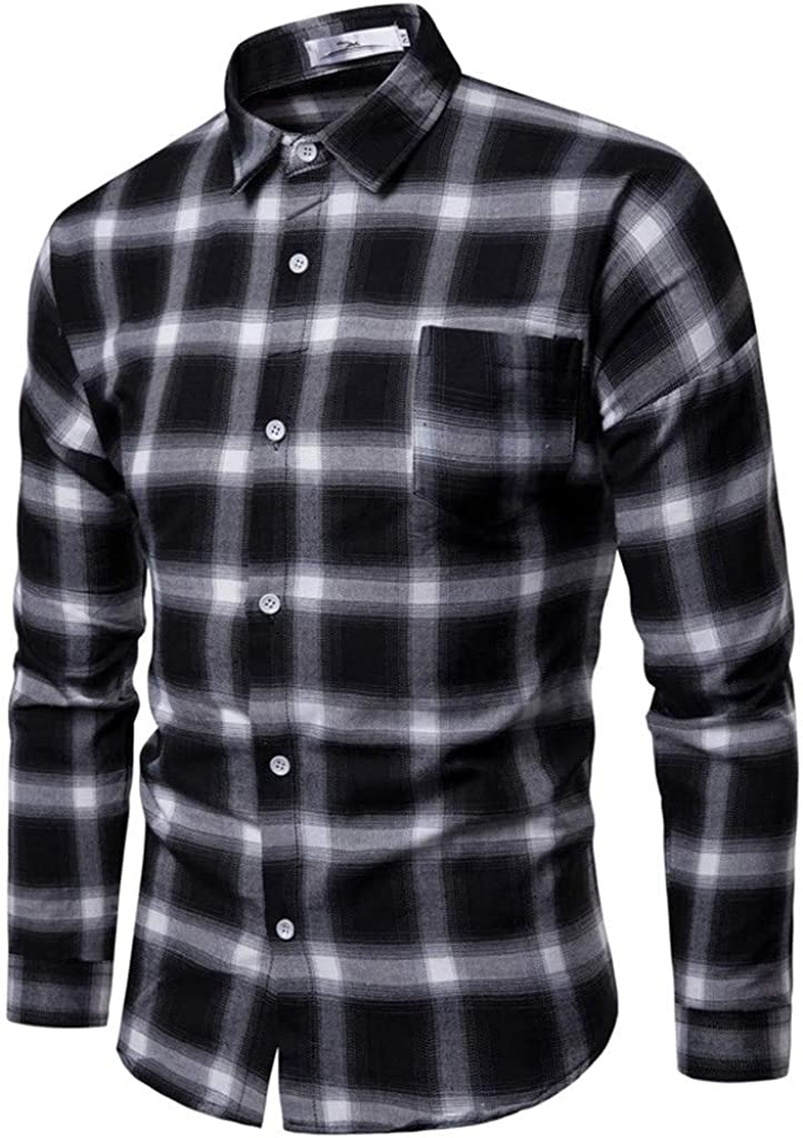 Huangse Men's Casual Plaid Shirt Long Sleeve Slim Fit Button Up Shirt Business Dress Shirts