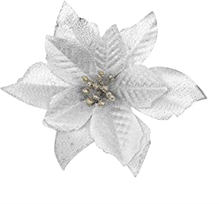 Gardeningwill 6Pcs 5 Inch Glitter Artificial Flowers with Ties for Wedding Christmas Festival Decor Ornament Silver