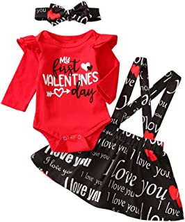 Toddler Baby Girls Valentine's Day Outfits Suspender Skirt Love Heart Print Skirt