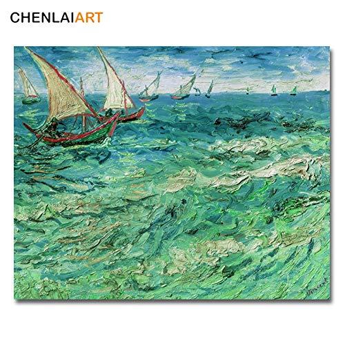 Frameloos Van Gogh Beroemde Print Canvas Schilderij Zeegezicht bij Saintes Marie Poster Muur Foto Voor Woonkamer Posters En Prints Wall Art <> 40x50cm
