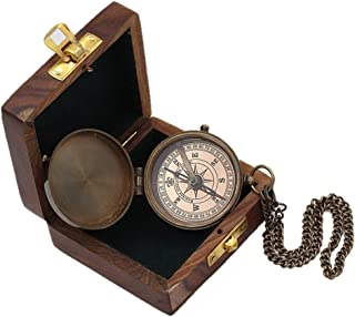 Roorkee Instruments India Boy Scouts Engravable Brass Pocket Compass with Wood Case