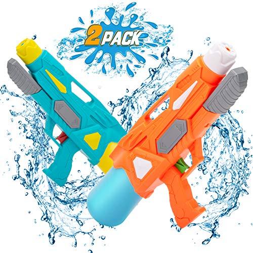 NextX Wasserpistole Pool Spielzeug Wasserspritzpistolen Super Water Guns 2er Pack 600ML Reichweite 9 Meter Wassertank Badespielzeug Strandspielzeug Wasserpistolen für Kinder
