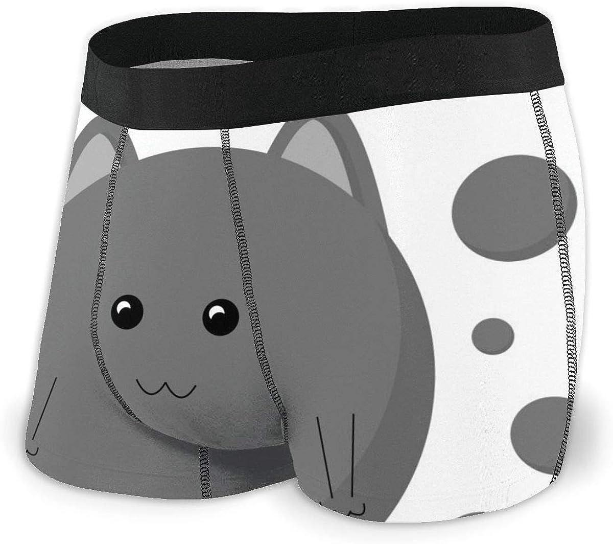 Mens Underwear Funny Gray Ball Cute Cat Kitten Boys Boxer Briefs Trunks Low Rise Underpants Man