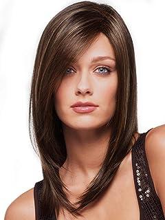 باروكة شعر منسدل مستعار طويل بلون بني خاص بالسيدات مع خصلتين متموجتين في الأمام