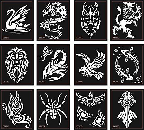 Tier Tattoo Schablonen Vorlagen 12 Sheets für Glitter Tattoo und Air Brush Tattoo Spinne Skorpion Löwe Schmetterling und mehr