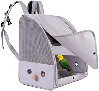 Bird Carrier Backpack with Stand Perch, Bird Travel Backpack Cage with Shade, Stainless Steel Plate and Wooden Perch