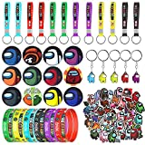 91 Pcs Among US Party Supplies Birthday Party Favors Gifts Set Include 12 Bracelets, 12 Key Chains, 12 Button Pins, 5 Key Rings, 50 Stickers for Kids Among Us Fans Themed Party