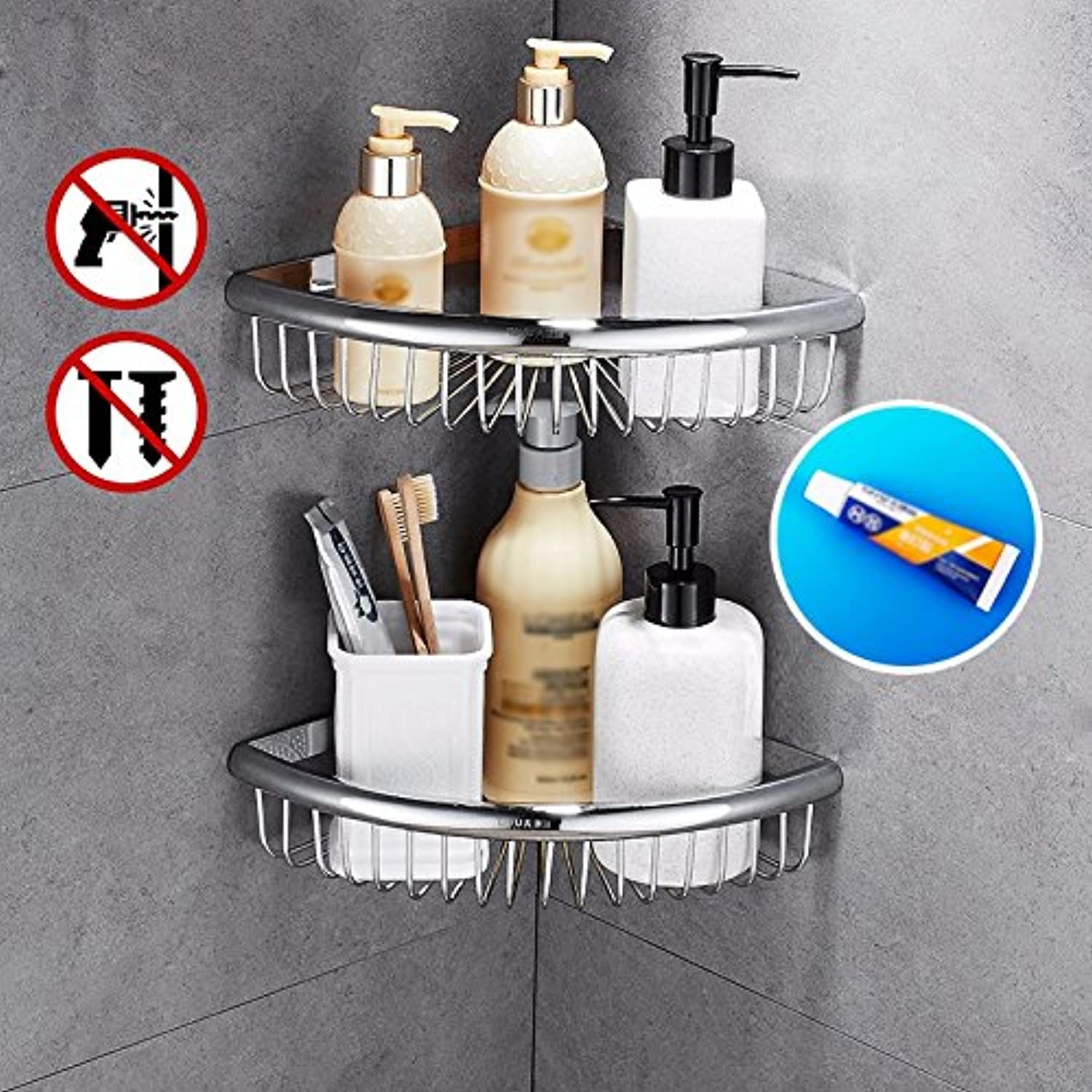 The Bathroom Rack Without Drilling Copper Triangle Basket Corner Basket Bathroom Shelf Corner Basket Bathroom Rack Basket Rack,2Layer