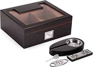 Woodronic Glasstop Cigar Humidor Set, Ebony Finished Spanish Cedar Wood Lined for 35-50 Cigars, Desktop Display Cigar Box Set with Ashtray, Cutter, Hygrometer and Humidifier