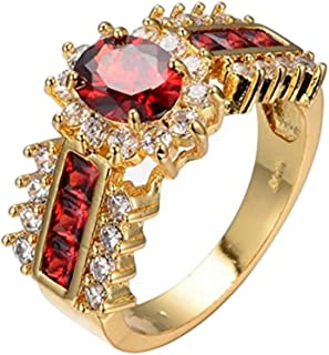 UOKOHO 10KT Gold Filled Ruby Rings for Women Grils Best Idea for Gifts