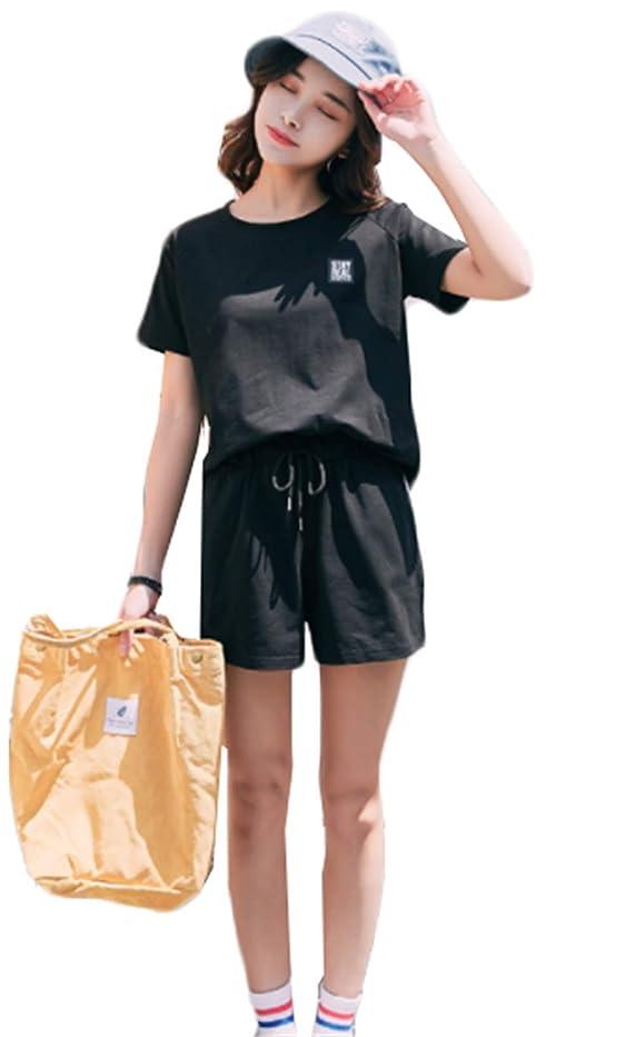 スカート彼ら水銀のスポーツウェアー 綿 シャツ ショートパンツ ゆったり トレーニングウェア レディース ジャージ 半袖 2点セット五分丈 運動会 短パン 薄手