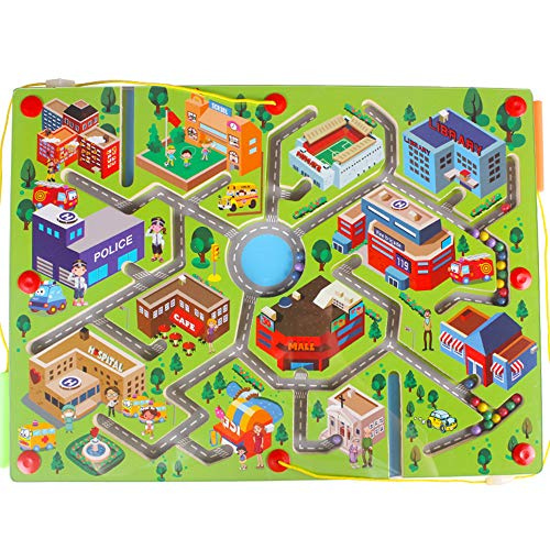 Gobus Holz perlen Labyrinth Stift Fahren Perle Labyrinth interaktives Labyrinth Puzzle Spielzeug Kinder pädagogisches Brettspiel (Grüner Stadtverkehr)