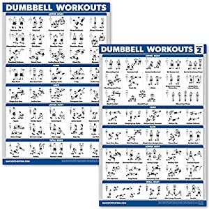 QuickFit 2 Pack Dumbbell Workout Exercise Posters – Volume 1 & 2 – Free Weight Body Building Exercise Charts – 18″ x 27″ – Vol. 1 & 2