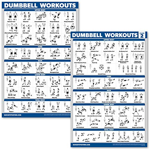 QuickFit 2 Pack Dumbbell Workout Exercise Posters - Free Weight Body Building Exercise Charts - 18 x 27 Inches - Vol. 1 & 2