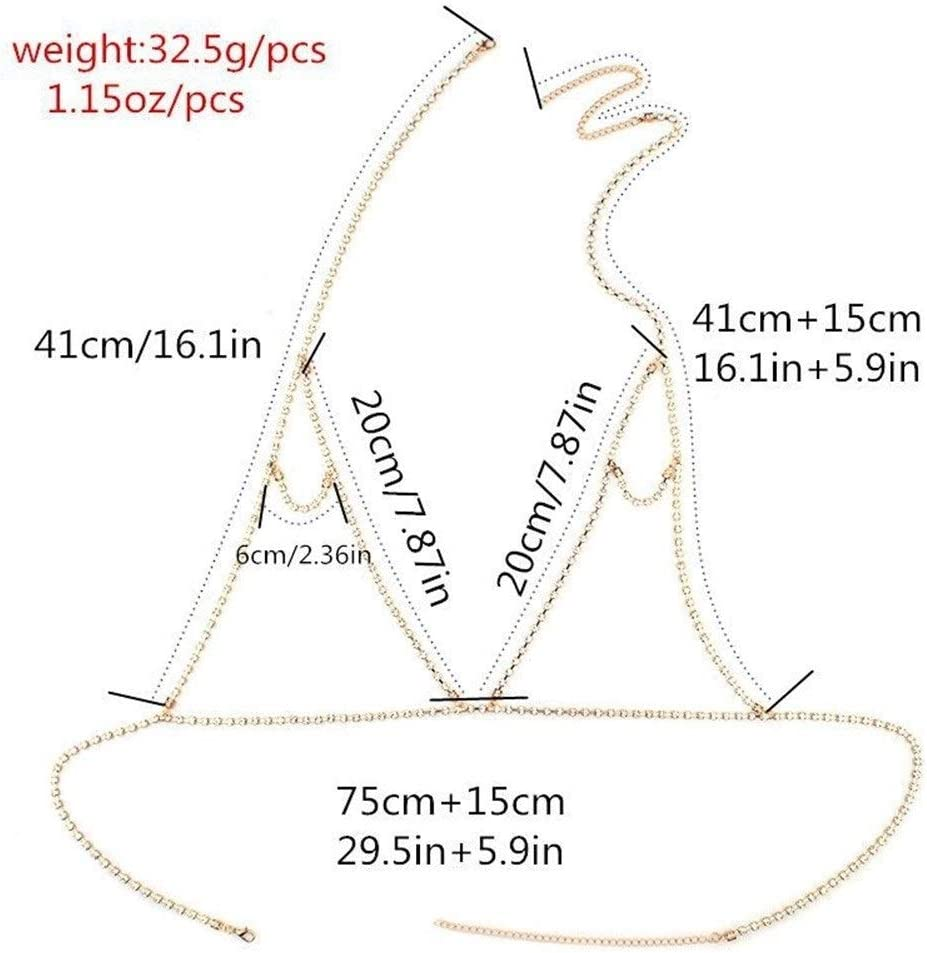 SUIWO WLXP Women's Halter Body Chain Backless Tank Top Bra Necklace Party Body Jewelry Women Fashion Body Jewelry Bra Multilayer Chest Chain (Color : Gold)
