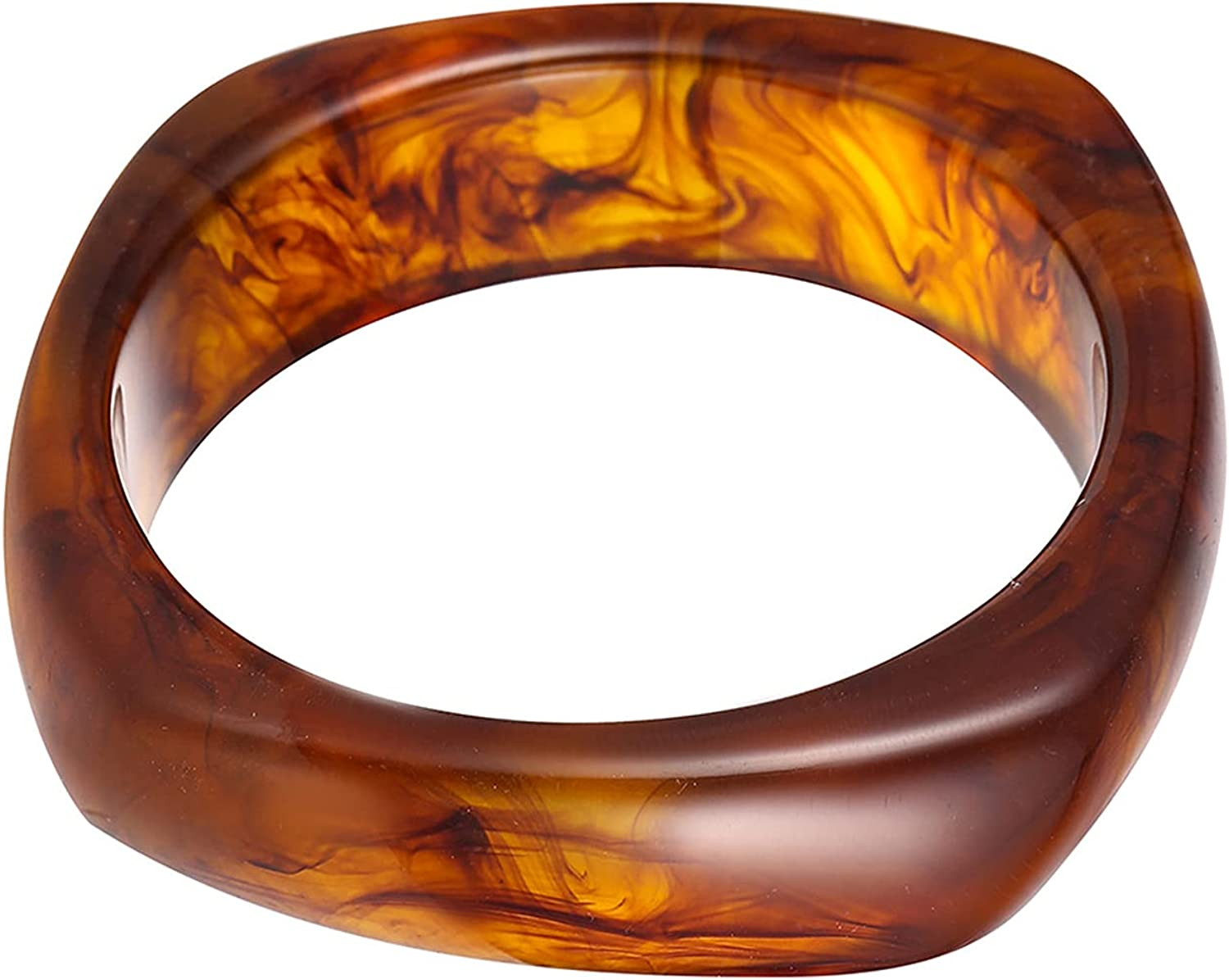 caiyao Natural Colorful Wooden Acrylic Large Round Bangles Wide Irregular Ethnic Wood Chunky Minimalist Cuff Bracelet Vintage Punk Cool Jewelry for Women Girls