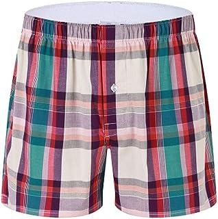Pantalon de Pijama Hombre Corto de Algodon Pantalón de Casa Vearno Salón Pantalones de Dormir a Cuadros Bóxer Verano Short...