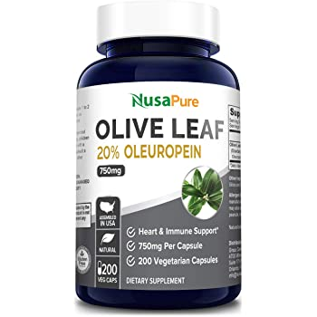 Olive Leaf Extract 750 mg 20% Oleuropein (Non-GMO & Gluten-Free) - Vegan - Super Strength - Immune Support, Cardiovascular Health & Antioxidant Support* - No Oil - 200 Capsules
