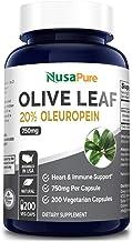 Olive Leaf Extract 20% 200 Caps (Non-GMO & Gluten Free) 750 mg – Oleuropein..