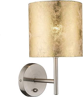 Applique murale décorative AMY avec interrupteur, abat-jour en tissu marbré doré Ø 15 cm, avec LED E14