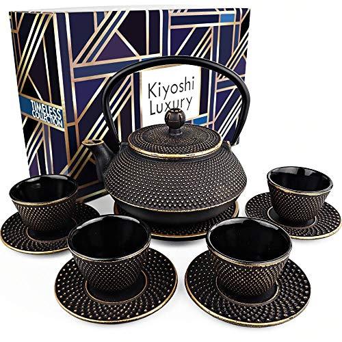 KIYOSHI Luxury 11PC Japanese Tea Set'Black and Gold' Cast Iron Tea Pot 26Oz with 4 Tea Cups (2Oz each), 4 Saucers, Leaf Tea Infuser and Trivet. Ceremonial Matcha Accessories