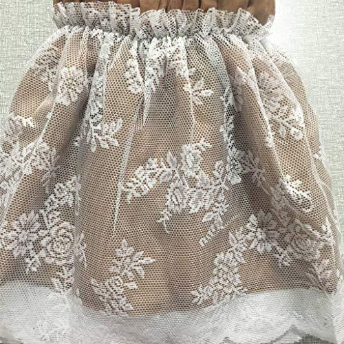 Encaje Bedding Ruffled Bedskirt, Decoracion Medidas canapé Falda de cama elástica con volantes Reina del rey Faldón de volantes con banda Tres lados de tela envuelven elástico-Un-150*200+40Cm