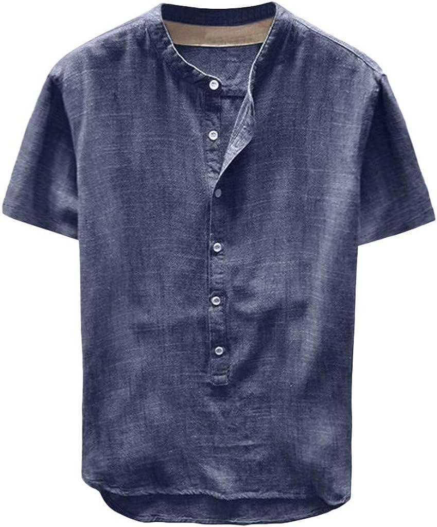 Mens Linen Cotton Blend Henley Shirts Basic Short Sleeve Comfy Summer Beach Yoga Tops Band Collar Plain Tee Tops