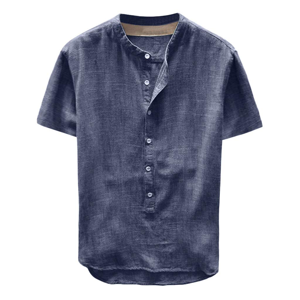 iZZZHH Mens Cotton Blend Pocket Blouse Retro Solid Long Sleeve Tops Baggy Casual Shirt