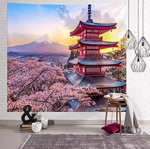 Gebouw wandtapijt Mount Fuji, Japan Kersenbloesems landschap Strandlaken Yoga Mat Slaapkamer Woonkamer Slaapzaaldecoratie, 150 * 200cm.
