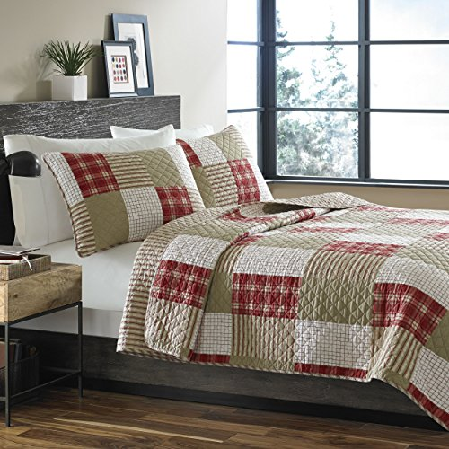 Eddie Bauer | Camino Island Collection | 100% Cotton Reversible & Light-Weight Quilt Bedspread with Matching Shams, 3-Piece Bedding Set, Pre-Washed for Extra Comfort, Full/Queen, Red
