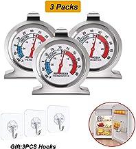 Lifreer Termómetros de Nevera 3PCS Acero Inoxidable Refrigerador Congelador Termómetros Termómetro de Temperatura para Hogar, Restaurantes Congelador, 3PCS Ganchos Transparentes