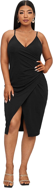 Romwe Women's Plus Size Sleeveless Wrap V Meck Split Hem Party Midi Bodycon Dress
