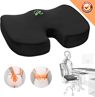 Coccyx Seat Cushion Orthopedic Memory Foam Car Seat Cushion Comfort Chair Tailbone Pillow Non-Slip Hip Back Sciatica Pain Pressure Relief Seat Cushion Office Pregnancy Travel Sit Black Seat Cushion