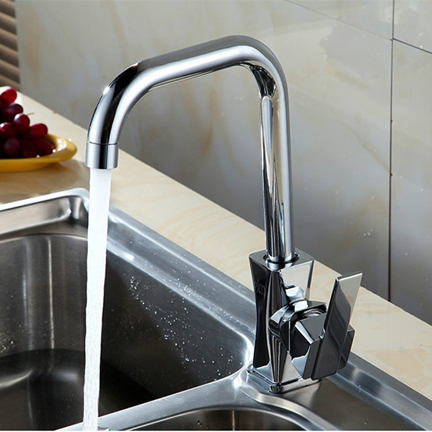 Commercial Single Lever Pull Down Kitchen Sink Faucet Brass Constructed Polished Kitchen Faucet Guangdong Zinc Alloy Hot and Cold Water Mixing Mixer 360 Degree redating Faucet