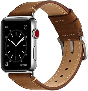 Mkeke Compatible with Apple Watch Band 38mm Genuine Leather iWatch Bands Vintage Coffee