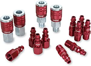 ColorConnex Coupler & Plug Kit (14 Piece), Industrial Type D, 1/4 in. NPT, Red – A73458D