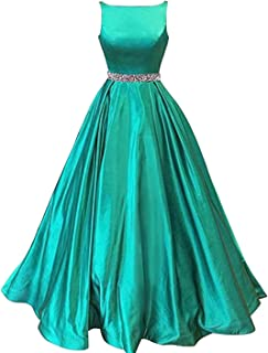 Women's A-Line Prom Dress With Pockets Satin Belt Evening Gowns Long