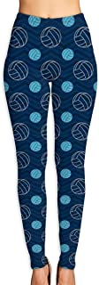 Cyloten Volleyball Blue Baseball Yoga Pants Washable Legging Tights Quick Dry Sportswear for Women Girl Workout