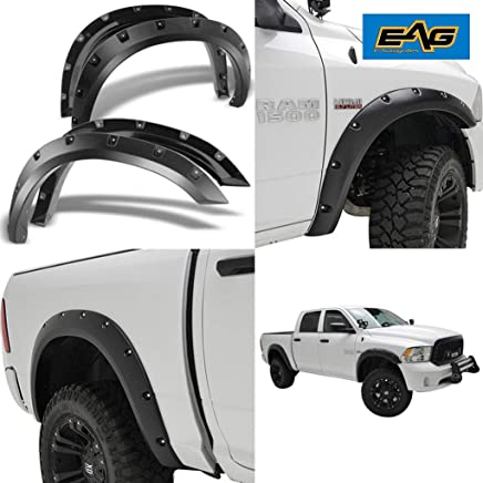 EAG E-Autogrilles Black Pocket Rivet Style Front + Rear Fender Flares for 09-