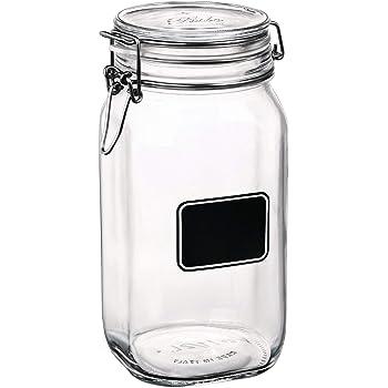 Bormioli Rocco Fido Square Clear Jar with Chalkboard, 50-3/4-Ounce
