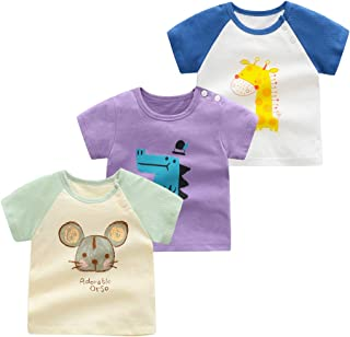 Camiseta para Niñas Niños Pack de 3 T-Shirt Manga Corta Algodón Dibujos Animados Impresión Bebé Tops Trajes de Verano