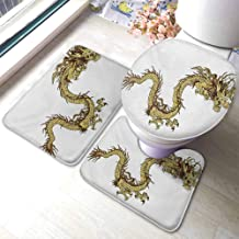 Bath Rugs for Bathroom Washable Dragon,Fire Dragon Zodiac with Large Claws Symbol Power Chinese Astrology Theme Mythology,Yellow White,Floor Entrance Rug