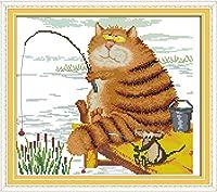 LovetheFamily クロスステッチキット DIY 手作り刺繍キット 正確な図柄印刷クロスステッチ 家庭刺繍装飾品 11CT ( インチ当たり11個の小さな格子)中程度の格子 刺しゅうキット フレームがない - 344×39 cm 猫のお気に入り