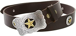 Mens Texas Ranger Star Genuine Leather Western Cowboy Belt with Matching Conchos