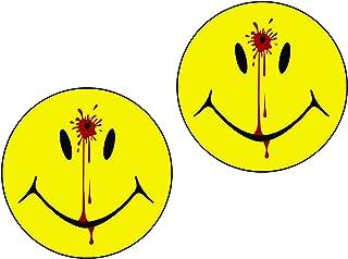 "LPF USA Magnet 2-5"" Set Smiley Face Dead Decal Head Shot Bullet Hole Guns Magnetic Sticker Decal Blood"