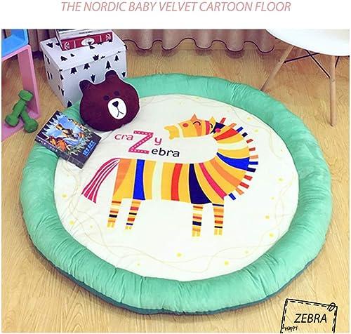 AMZ BCS Kinderzimmer Teppich Nickerchen Tatami Babyspielmatte Kind Aktivit Gym Runde Kinder Spielzeug Aufbewahrungskissen Waschbar Zebra Krabbeln Matten Durchmesser 140cm