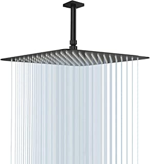 16 Inch Square Shower Head, NearMoon Stainless Steel Rain Shower Head Full Body Covering with Powerful Spray Luxury Shower Experience, Ceiling or Wall Mount, Oil Rubbed Bronze (Matte Black)